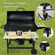Charcoal Bbq Camping Grill With Wooden Shelves