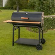 Premium Charcoal Bbq Grill With Wooden Shelves
