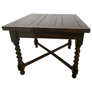 Antique Dark Oak Refectory Table Large Barley Twist Legs Expanding Pull Outs