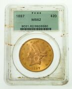 1897 20 Gold Liberty Double Eagle Coin Graded By Pcgs As Ms-62 Old Holder