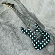 Kramer Nightswan Ebony With Blue Dots 6 String Electric Guitar Made In Indonesia