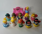 Fisher Price Little People Disney Princess Figures Lot Of 11 Bed Throne