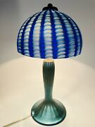 Rare Vintage Lundberg Studios Table Lamp Signed Base And Shade 1988 And Numbered