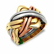 Mens Solid 9ct Yellow White And Rose Gold 8 Piece Puzzle Ring