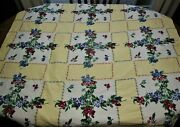 Wilendur Berries Vintage Tablecloth Mixed Fruits Sunny Yellow