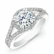 Brilliant Round 1.24 Ct Real Diamond Engagement Ring 14k White Solid Gold Size 7