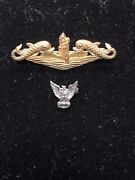 Wwii Navy Pins Ster 10k Submarine And Eagle Pin