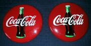 2 Metal Coca Cola Advertising Button Sign Table Craft Product 16 Diameter 1990