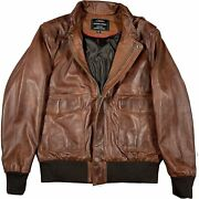 A-2 Aviator Flying Tiger Bomber Menand039s Navy Distressed Real Leather Jacket