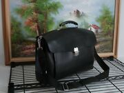 Bally Authentic Briefcase Laptop Bag Travel Case Cowhide Saddle Leather Black