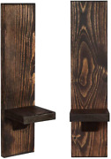 Wall Sconce Candle Holders, Wooden Wall Mounted Hanging Shelves - Set Of 2 Waln