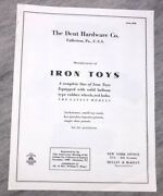 The Dent Hardware Co. Manufacturers Of Iron Toys Trucks Catalog Vintage Reprint