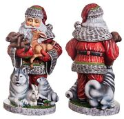 Wooden Hand Carved Santa Claus Figurine 14 Hand Painted Ded Moroz Father Frost