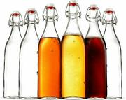 Swing Top Clear Glass Square Bottle With Airtight Stopper -