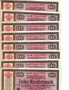 Germany 10 Reichsmark - 1934 Series B - Lot Of 8 Consective Numbers - Excellent