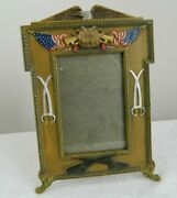 Wwi Us Army H.l. Judd Co. Cast Metal Photo Frame Eagle Flag Sword Cannon 9443