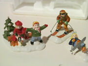 Dept. 56 Snow Village 1994 Skaters And Skiers Set Of 3 5475-5