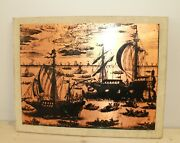 Vintage Hand Made Engraved Copper Wall Hanging Plaque Seascape Ships