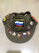 Russian Army Cap Hat Size 59 Soviet Pins Patches - 18 Pins