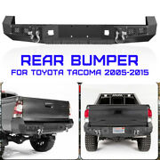 Textured Steel Rear Bumper For 05-2015 Toyota Tacoma W/license Plate Led Lights