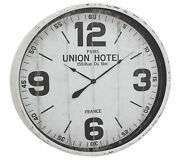 Zimlay Rustic Round White Iron And Wood Vintage Wall Clock 52129