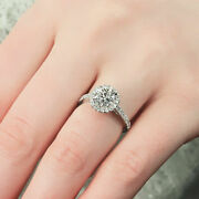 0.80 Ct Real Round Diamond Women Engagement Ring Solid 950 Platinum Size 5 6 8 9