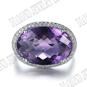 18k White Gold Pave Set Natural Si/h Diamond Oval 17x12mm Flawless Amethyst Ring