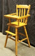 Vintage Antique Old Solid Wood Wooden Child Childrenand039s Kids Doll Toy High Chair