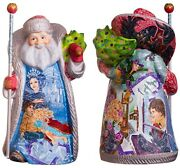 Wooden Hand Carved Santa Figurine 14 Hand Painted Russian Santa Ded Moroz