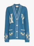 Sold-out Blue Ny Yankees Cardigan Sweater Sz Small W/ Embroidered Detail