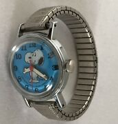 Vtg Snoopy Watch Blue Face Peanuts Women's Small Wind Up Working 1958 A233
