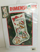 Merry Kittens Cats Christmas Stocking Cross Stitch Dimensions 8621 Vtg 1999