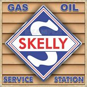 Skelly Gas Service Station Sign Remake Square Aluminum Size Option Up To 3and039 X 3and039