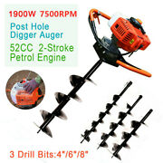52cc 2 Stroke Gas Powered Post Hole Digger Plant Auger W/ 3 Drill Bits 4 6 8