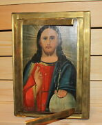 Vintage Hand Made Orthodox Icon With Brass Frame Jesus Christ