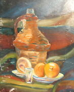 Vintage Expressionist Oil Painting Still Life With Demijohn And Fruits Signed