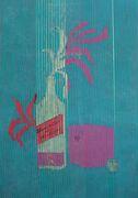 Vintage Gouache Painting Abstract Still Life Scotch Whisky Poster