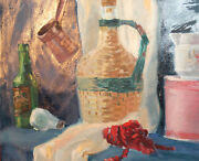 Vintage Oil Painting Still Life With Demijohn, Bulb, Coffee Pot, Bottle And Rope