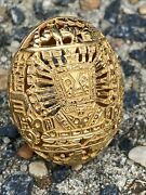 Large 18k Yellow Gold Open Work Aztec Dome Egg Shaped Statement Ring Size 8