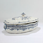 Large Antique 18th Century Moustiers Style French Faience Soup Tureen - Pt