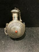 Sterling Silver And Coral Canteen By Navajo Artist Sunshine Reeves