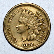 1859 Copper Nickel Cent ✪ Xf Extra Fine ✪ 1c Indian Head One Year Type ◢trusted◣