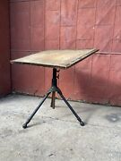1920s Hoffman Industrial Cast Iron Drafting Table Desk Art Easel Office Study