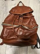 Il Bisonte Brown Leather Drawstring Backpack