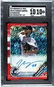 2019 Bowman Chrome Edward Cabrera Red Shimmer Auto Refractor /5 🔥🔥