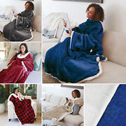 Fleece Blanket With Sleeves And Front Pocket Robe Wearable Tv Blanket