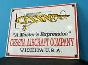 Vintage Cessna Aircraft Co Porcelain Gas Aviation Airplane Service And Sales Sign