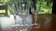 Clear Glass Wine Glasses Pressed Glass Fascination Pattern 4 6 Oz Faceted Stems