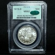 1915-d Barber Half Dollar ✪ Pcgs Ms-62 Cac ✪ 50c Choice Uncirculated ◢trusted◣