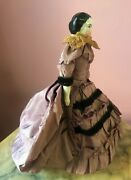 Antique China Dollhouse Doll In French Fashion Bustle Original Outfit